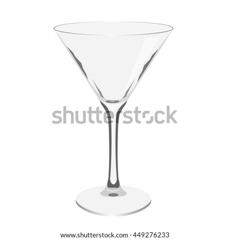 empty transparent martini glass realistic isolated vector illustration - stock vector