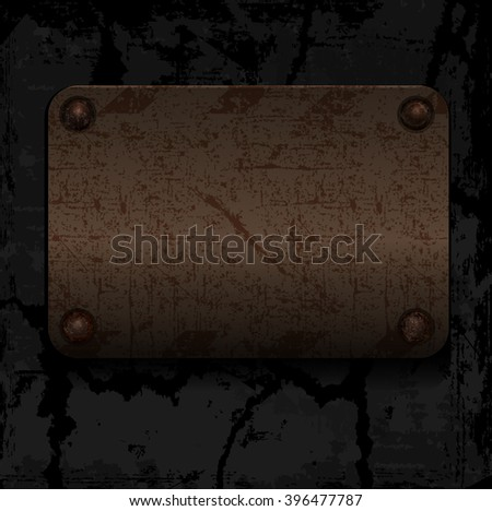 empty vector old rusty metal plate with rivets on the wall - stock vector