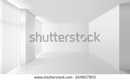 Empty vector white interior. Wall room and floor, clear apartment, design and minimalism style - stock vector