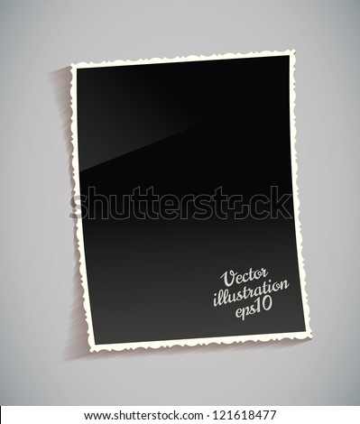 Empty vintage photo frame on table. Black and white. Isolated on gray background. Vector illustration eps 10 - stock vector