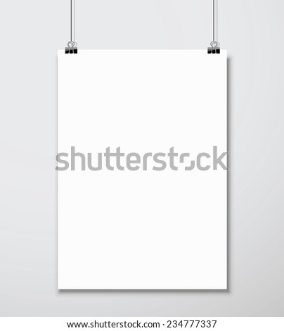 Empty white A4 sized vector paper mockup hanging with paper clips. Show your flyers, brochures, headlines etc with this highly detailed realistic design template element. - stock vector