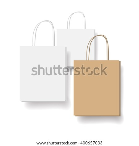 Empty white and brown shopping bags set. Three bags isolated on white background, vector illustration with a copyspace. - stock vector