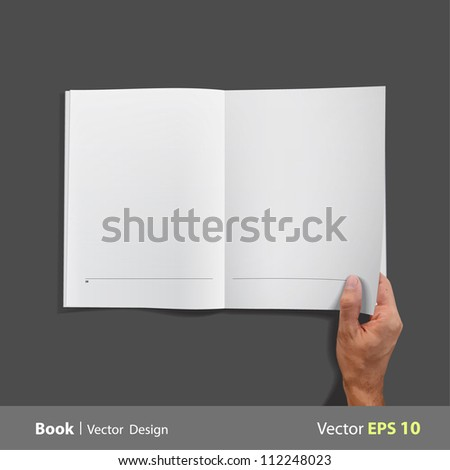 Empty white book isolated on black. Vector design. - stock vector
