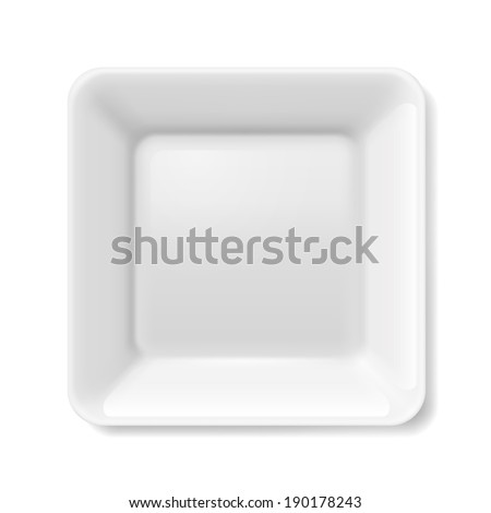 Empty white flat plate on isolated on white background - stock vector