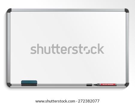 Empty white marker board. - stock vector