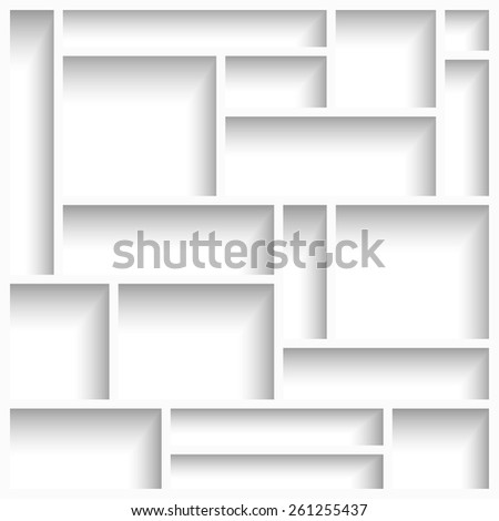 Empty white modern shelves with shadow. Vector illustration - stock vector