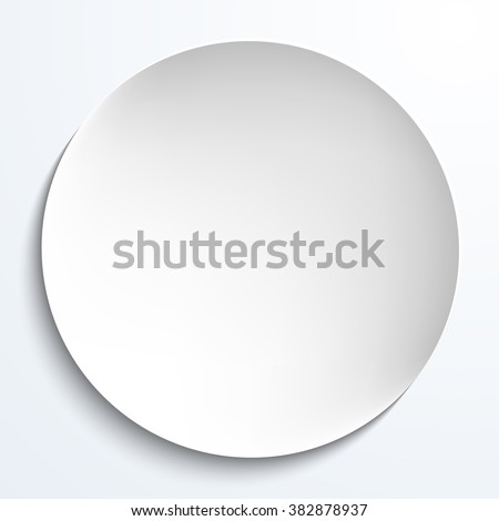 Empty white paper plate. Vector round plate Illustration on white background. Plate background for your design. - stock vector