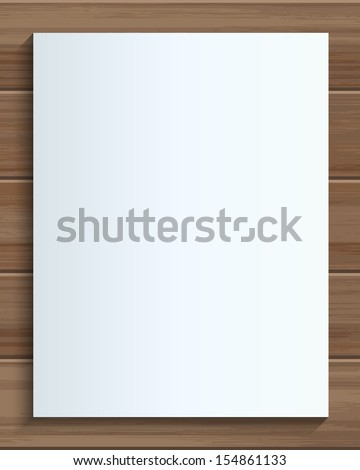 Empty white paper sheet on wooden background - Vector illustration - stock vector