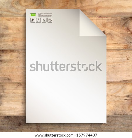 Empty white paper sheet on wooden background with corner fold and drawing icon - Vector illustration - stock vector