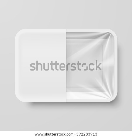 Empty White Plastic Food Container with White label on Gray Background - stock vector
