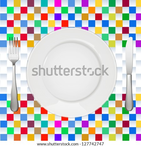 empty white plate over square tablecloth background. vector design - stock vector