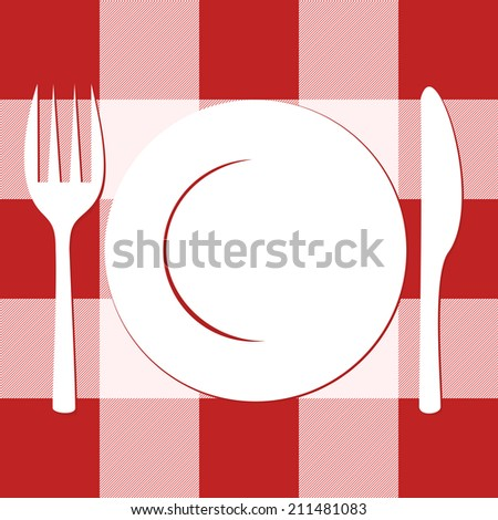 empty white plate with knife and fork. vector background - stock vector