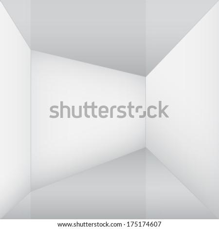 empty white room corner - stock vector