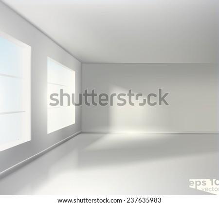 Empty white room. Realistic vector graphic - stock vector