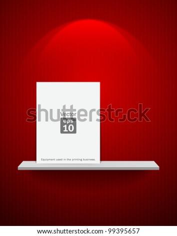 Empty white shelf and white frame on red wallpaper background. vector illustration - stock vector