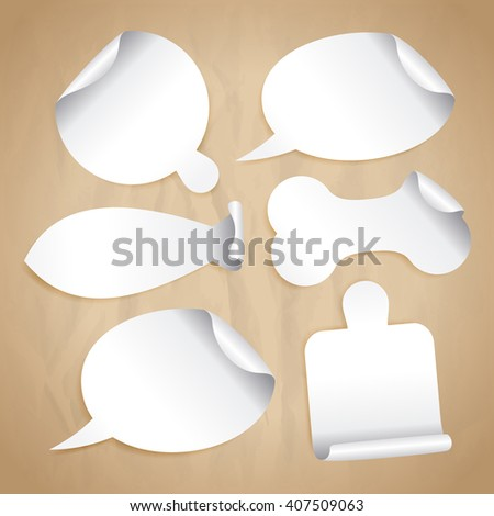 Empty white stickers on a paper - speech bubbles, board for pizza, cutting board, bone for pet, fish silhouette. - stock vector