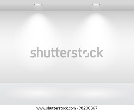 empty white wall with halogen lamps. vector template - stock vector