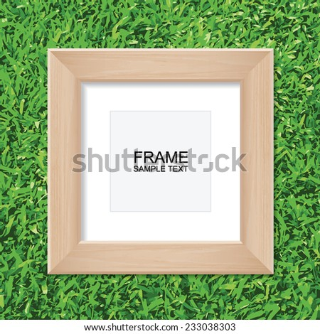 Empty wooden photo frame with area for copy space on green grass background. Vector illustration. - stock vector