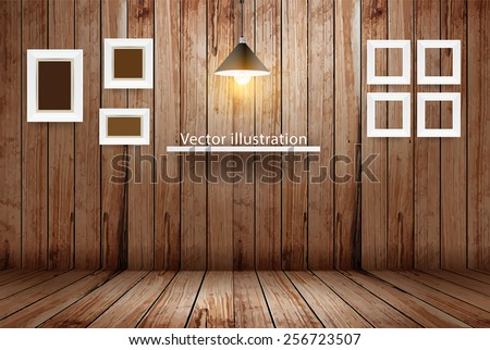 Empty wooden room, Vector illustration template design - stock vector