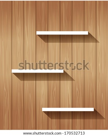 Empty wooden shelf with area  - stock vector