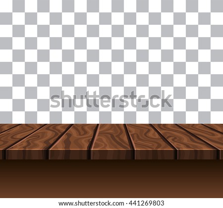 Empty wooden tabletop of brown color near grey white wall with checkerboard pattern vector illustration   - stock vector