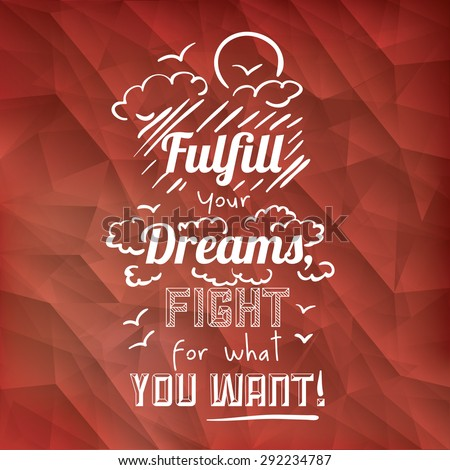 encourage quotes design, over  red background, vector illustration - stock vector