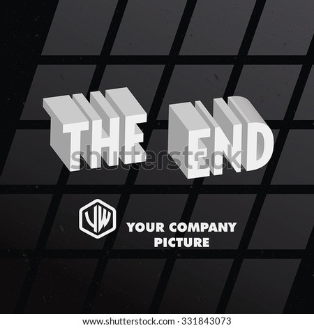 """End Credits - """"The End"""" Title Vector Background  - stock vector"""