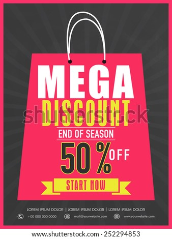 End of season sale flyer, banner or template design with mega discount.  - stock vector