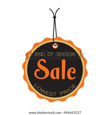 End of season sale tag isolated on a white background - stock vector