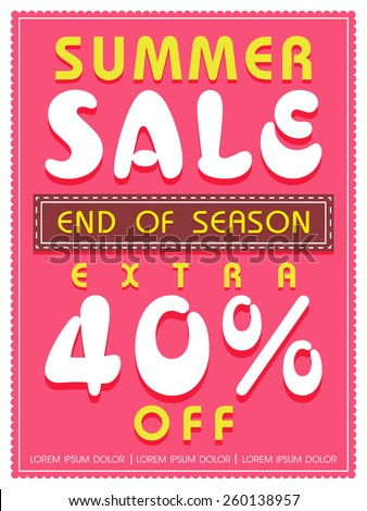 End of Season, Summer Sale flyer, poster or banner design with extra discount offer. - stock vector