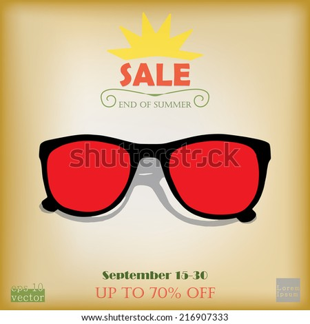 End of summer sale advertising - stock vector