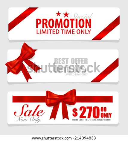 End of year sale savings labels set, price tag, sale coupon, voucher. Modern Style template Design vector illustration. - stock vector
