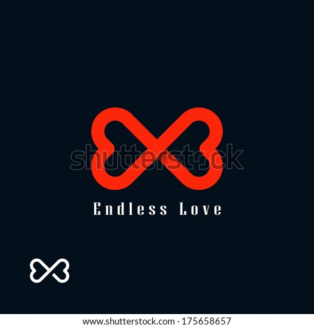 Endless love symbol. Two hearts - stock vector