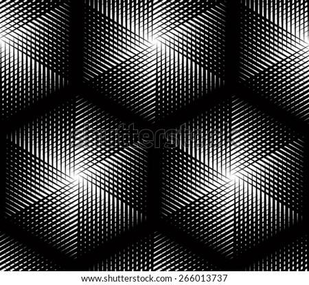 Endless monochrome symmetric pattern, graphic design. Geometric intertwine optical composition. - stock vector