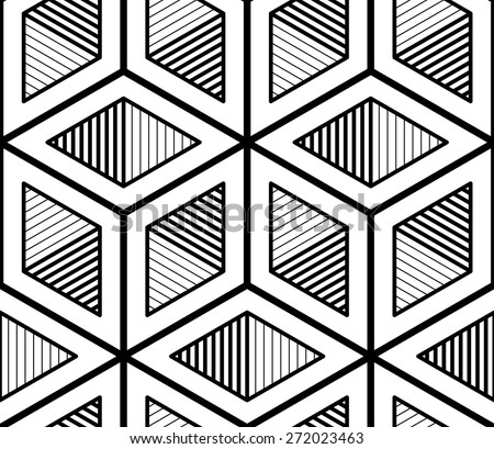 Endless monochrome symmetric pattern, graphic design. Geometric intertwine optical composition. - stock vector