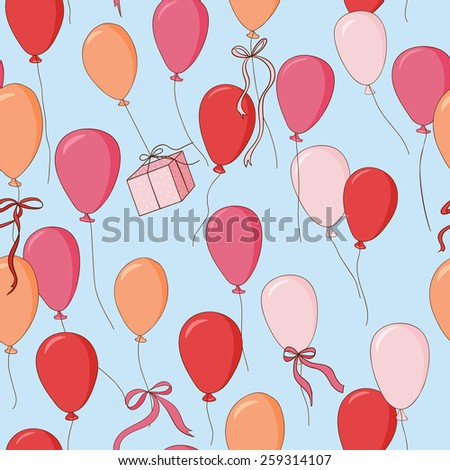 Endless pattern. Balloons, gift and ribbons in the blue sky. Can be used for wallpaper, pattern fills, web page background, surface textures. - stock vector