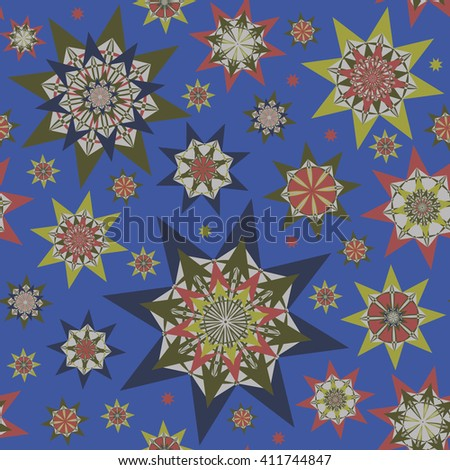 Endless seamless pattern with abstract colorful stars. Stock vector - stock vector