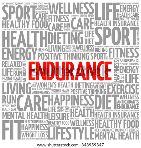 ENDURANCE word cloud background, health concept - stock vector
