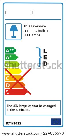 Energetic label for luminaire containing only non-replaceable LED modules. - stock vector