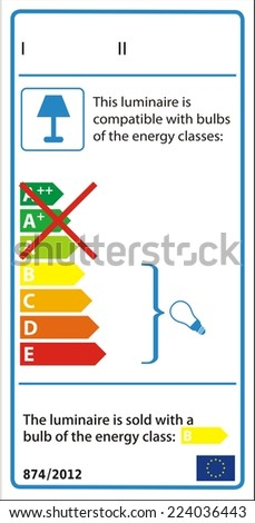 Energetic label for luminaire in vector. - stock vector