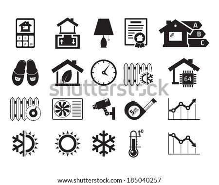 Energo efficient  smart house icons set / BW - stock vector