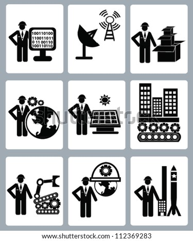 Energy and engineering concept,icon set,Vector - stock vector