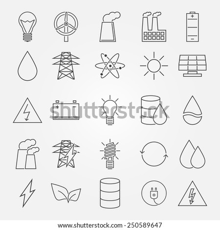 Energy and industrial icon set - vector thin line symbols of power or renewable energy technologies - stock vector