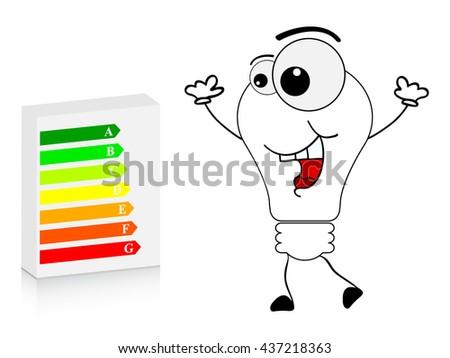 energy box and happy lightbulb - stock vector