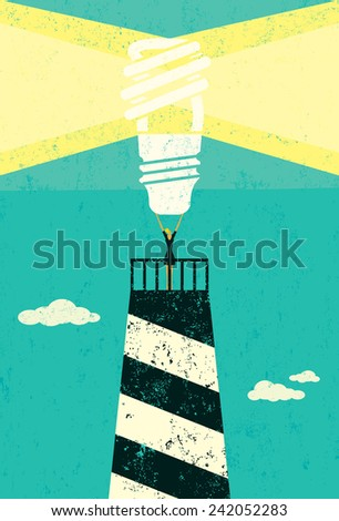 Energy conservation lighthouse - stock vector