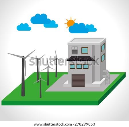 Energy design over white background, vector illustration. - stock vector
