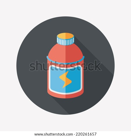 energy drinks flat icon with long shadow,eps10 - stock vector