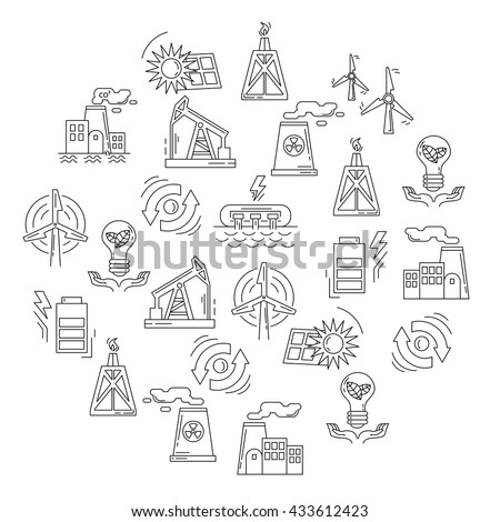 Energy Ecology and Pollution Vector set of icons - stock vector