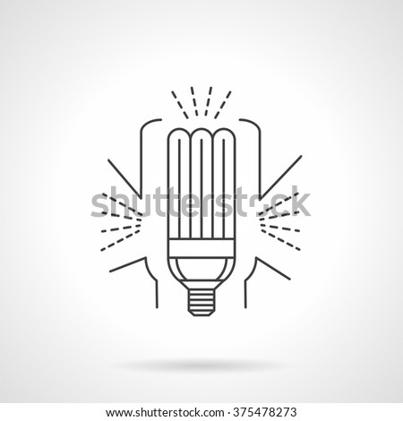 Energy efficient eco lamp. Fluorescent light bulb. Save environment ecology concept. Objects for home, office. Vector icon flat thin line style. Element for web design, business, mobile app.  - stock vector