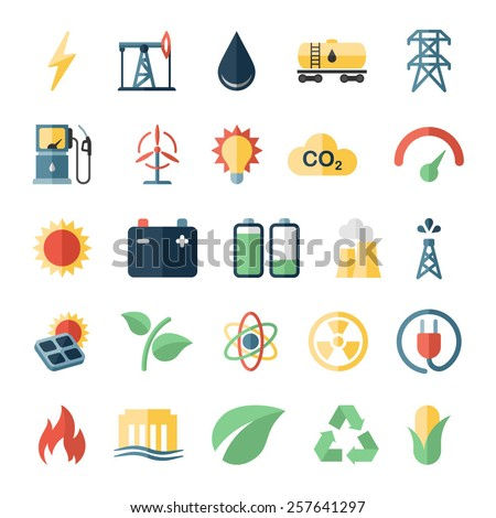 Energy, electricity, power, ecology flat icons - stock vector